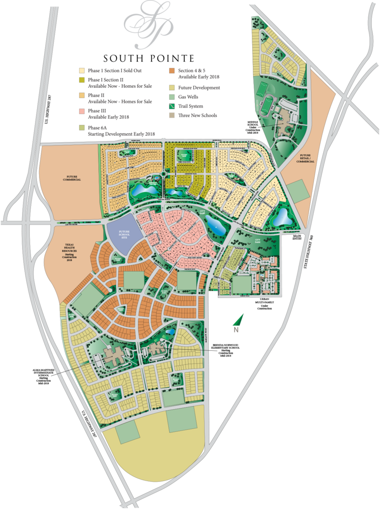 south pointe, community layout, new community, new homes for sale, mansfield tx, master-planned